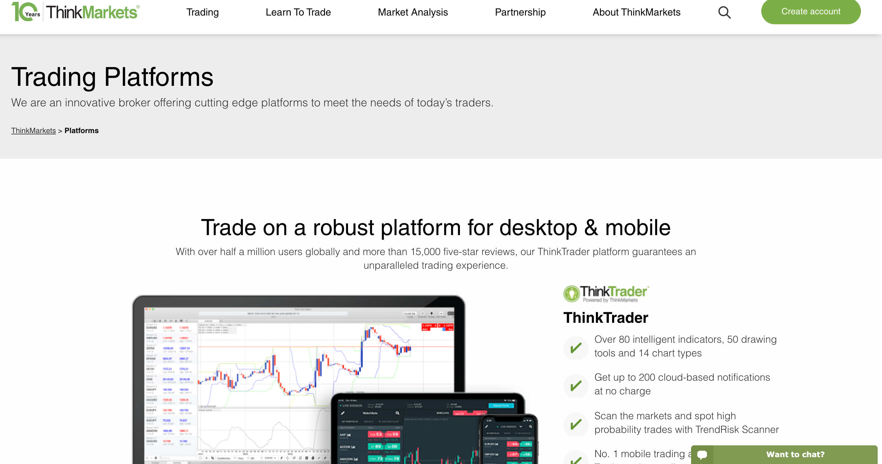 ThinkMarkets trading platforms